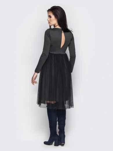 Серое платье с фатиновой юбкой - 13713, фото 3 – интернет-магазин Dressa