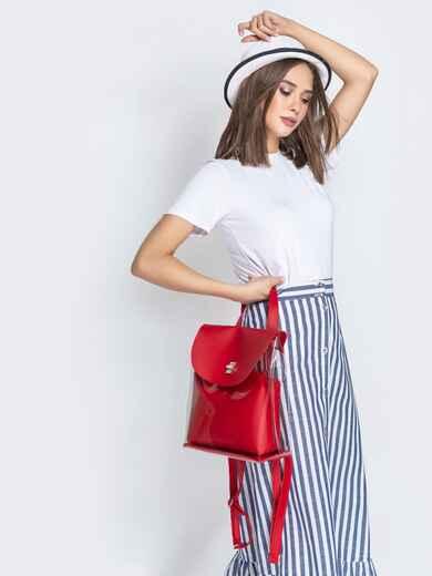 Трендовый прозрачный рюкзак с красной косметичкой - 21459, фото 1 – интернет-магазин Dressa