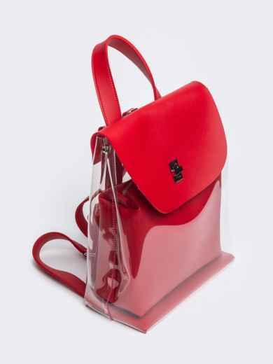 Трендовый прозрачный рюкзак с красной косметичкой - 21459, фото 2 – интернет-магазин Dressa