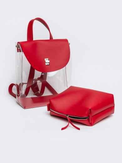 Трендовый прозрачный рюкзак с красной косметичкой - 21459, фото 3 – интернет-магазин Dressa