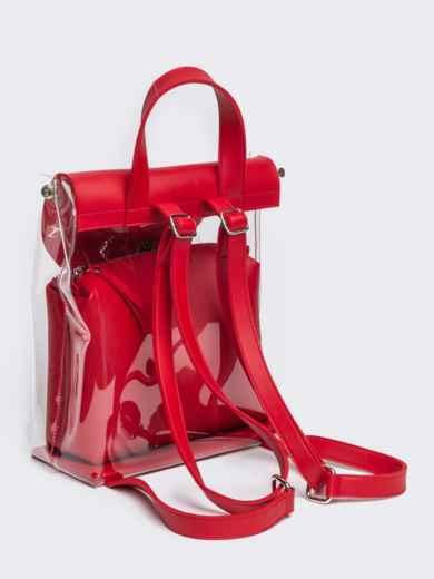 Трендовый прозрачный рюкзак с красной косметичкой - 21459, фото 4 – интернет-магазин Dressa
