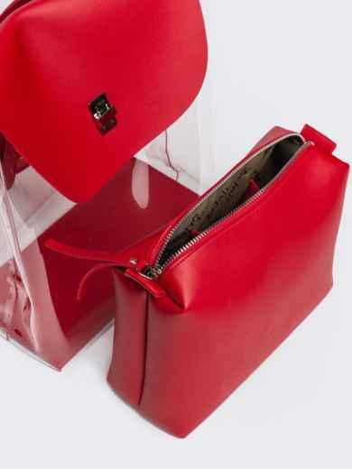 Трендовый прозрачный рюкзак с красной косметичкой - 21459, фото 5 – интернет-магазин Dressa