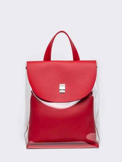 Трендовый прозрачный рюкзак с красной косметичкой - 21459, фото 6 – интернет-магазин Dressa