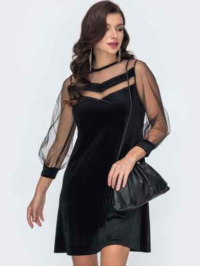 Чёрное платье-трапеция из бархата с фатиновой кокеткой 52058, фото 1