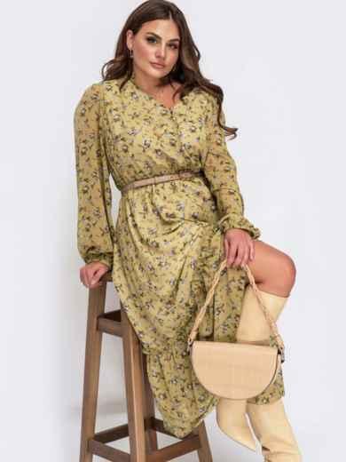 Платье батал из шифона с принтом и V-образным вырезом оливковое 54871, фото 1