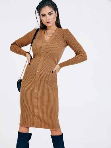Бежевое вязаное платье с пуговицами спереди 53023, фото 1
