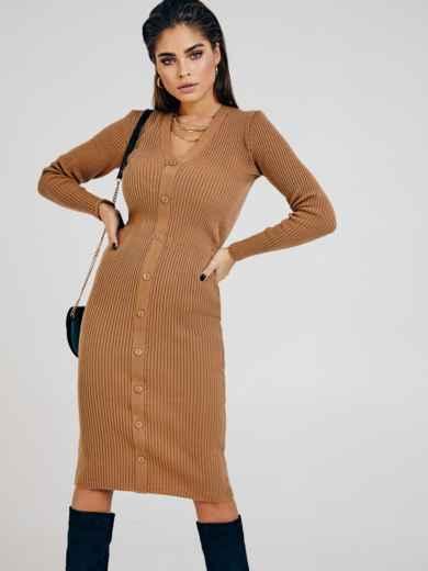 Бежевое платье из трикотажа с пуговицами спереди 53023, фото 1