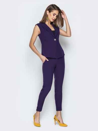 Брючный комплект фиолетового цвета с жакетом - 21106, фото 2 – интернет-магазин Dressa
