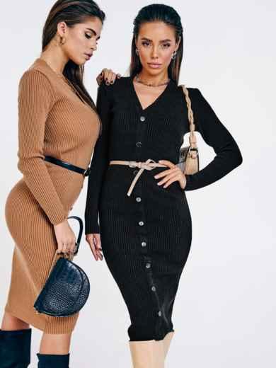 Чёрное вязаное платье с пуговицами спереди 53022, фото 1