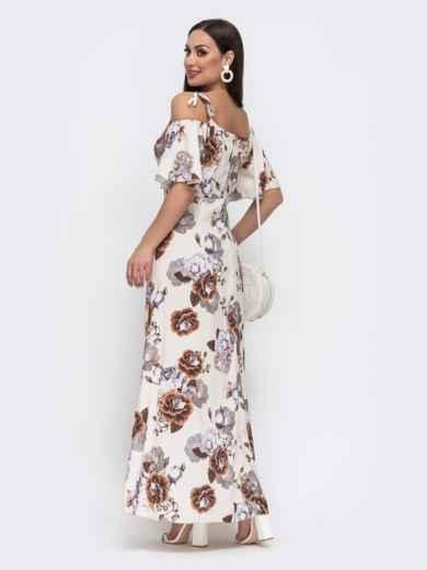 Длинное платье батал с принтом бежевое 46101, фото 2