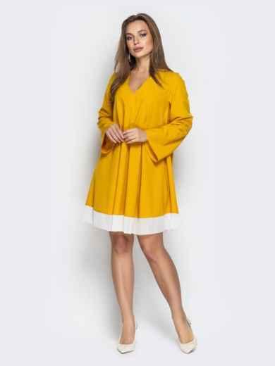 Горчичное платье oversize с контрастной вставкой по низу - 21111, фото 1 – интернет-магазин Dressa