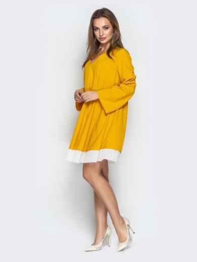 Горчичное платье oversize с контрастной вставкой по низу - 21111, фото 2 – интернет-магазин Dressa