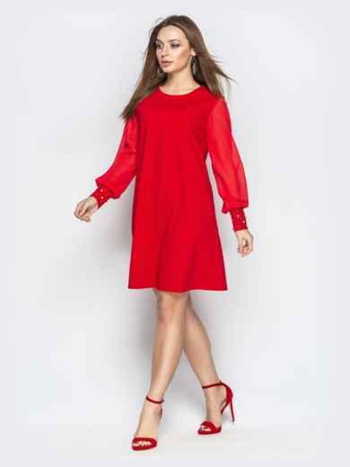 Красное платье с шифоновыми рукавами и жемчужинами на манжетах - 20609, фото 2 – интернет-магазин Dressa