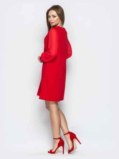 Красное платье с шифоновыми рукавами и жемчужинами на манжетах - 20609, фото 3 – интернет-магазин Dressa