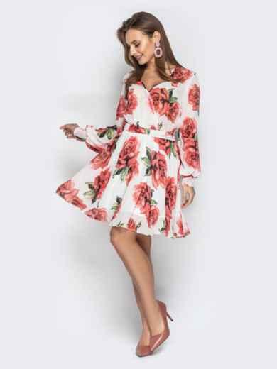 Платье из шифона с резинкой по талии белое - 21114, фото 2 – интернет-магазин Dressa