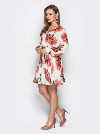 Платье из шифона с резинкой по талии белое - 21114, фото 3 – интернет-магазин Dressa