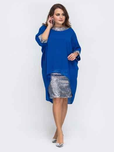 Синее платье с пайетками и шифоновым верхом 43719, фото 1