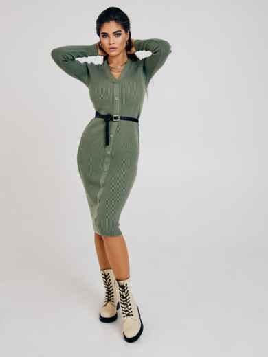 Зелёное платье из трикотажа с пуговицами спереди 53024, фото 1