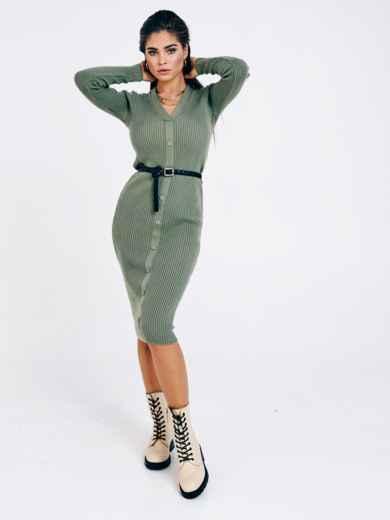 Зелёное вязаное платье с пуговицами спереди 53024, фото 1