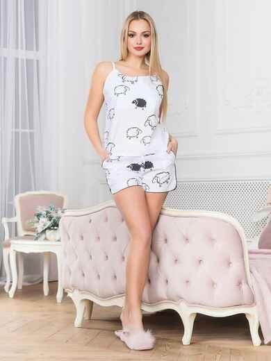 Белая хлопковая пижама с топом и шортами - 18970, фото 1 – интернет-магазин Dressa