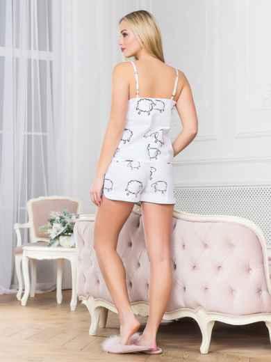 Белая хлопковая пижама с топом и шортами - 18970, фото 2 – интернет-магазин Dressa