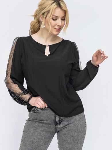 Черная блузка из софта большого размера 47740, фото 1
