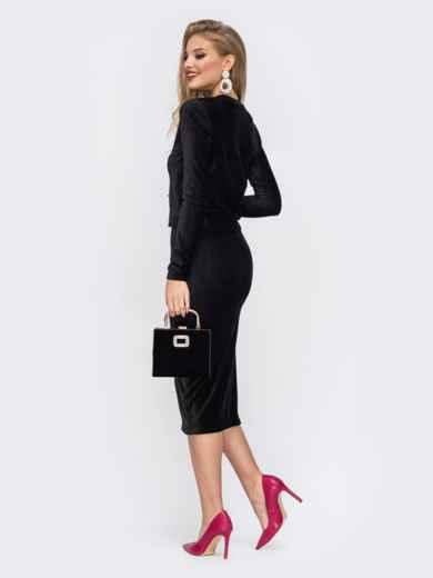Комплект из кофты и юбки с резинкой по талии чёрный - 42914, фото 2 – интернет-магазин Dressa