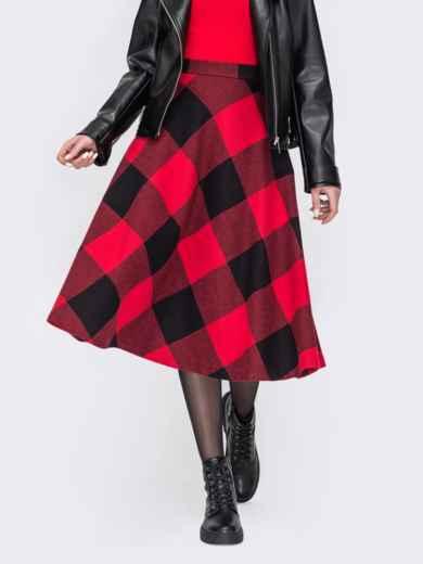 Красная юбка А-силуэта из жаккарда 52684, фото 1