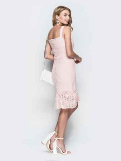 Персиковое платье из прошвы с удлиненной спинкой 38703, фото 2