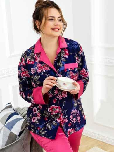 Пижама батал с цветочным принтом и брюками темно-синяя 53414, фото 1