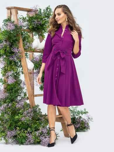 Платье фиолетового цвета с расклешенной юбкой 44818, фото 1