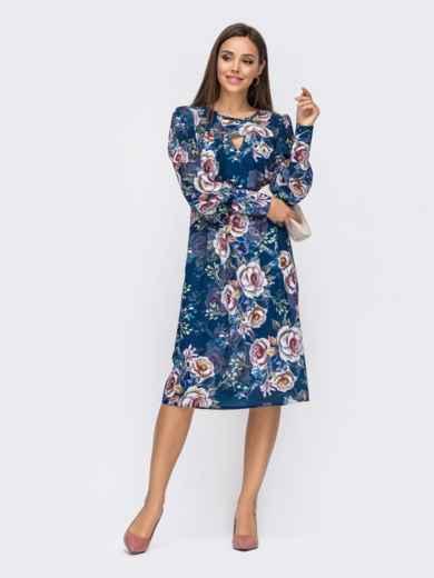 Платье из креп-шифона с принтом и фигурным вырезом синее 51184, фото 2