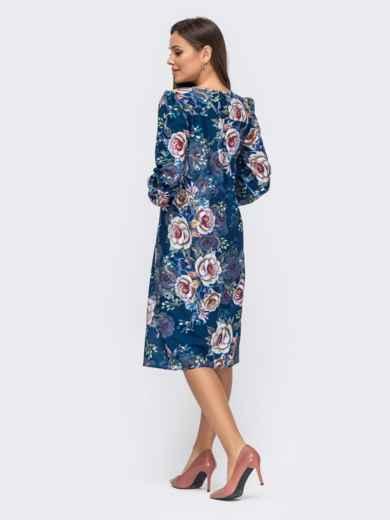 Платье из креп-шифона с принтом и фигурным вырезом синее 51184, фото 3