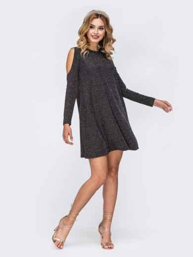 Платье из люрекса с открытыми плечами чёрное 42863, фото 1