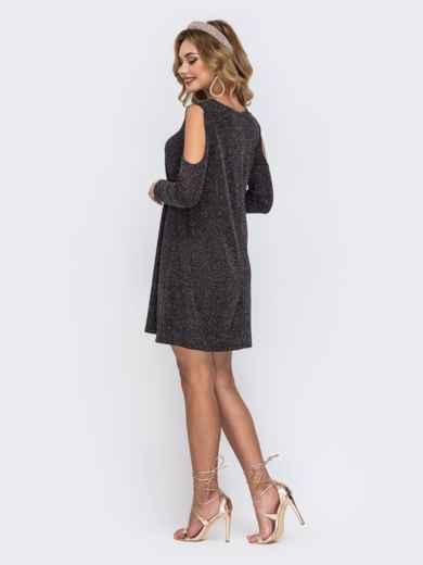 Платье из люрекса с открытыми плечами чёрное 42863, фото 2
