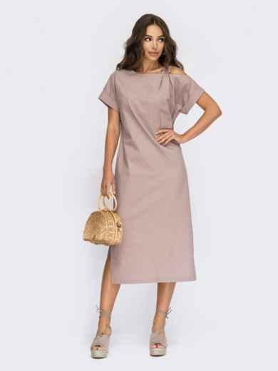Прямое платье из льна с открытым плечом пудровое 53868, фото 1