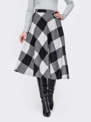 Серая юбка А-силуэта из жаккарда 52685, фото 1