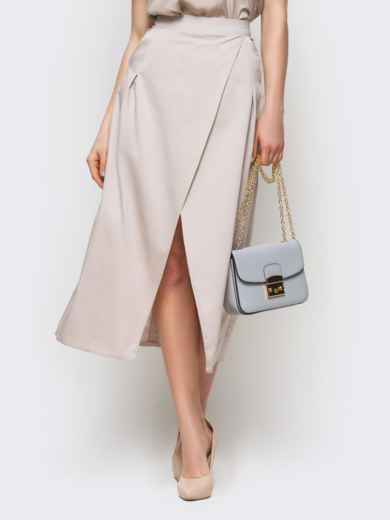 Серая юбка-миди на запах из костюмной ткани - 12892, фото 2 – интернет-магазин Dressa