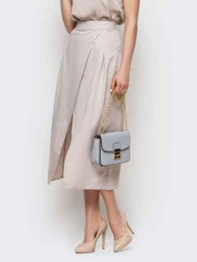 Серая юбка-миди на запах из костюмной ткани - 12892, фото 3 – интернет-магазин Dressa