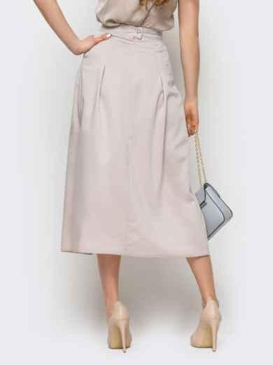 Серая юбка-миди на запах из костюмной ткани - 12892, фото 4 – интернет-магазин Dressa