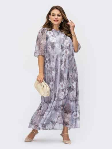 Свободное платье-макси батал из шифона с принтом сиреневое 54467, фото 1