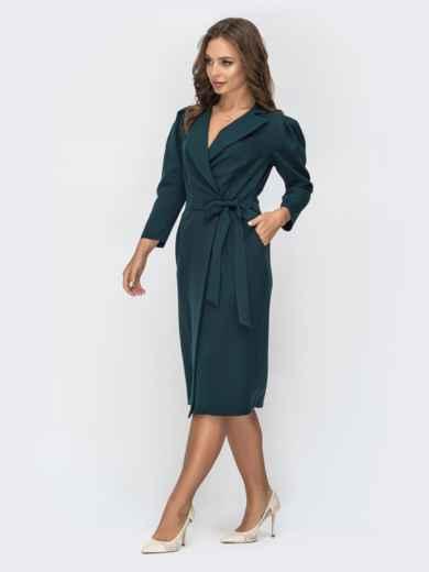 Зеленое платье на запах с лацканами 44821, фото 2
