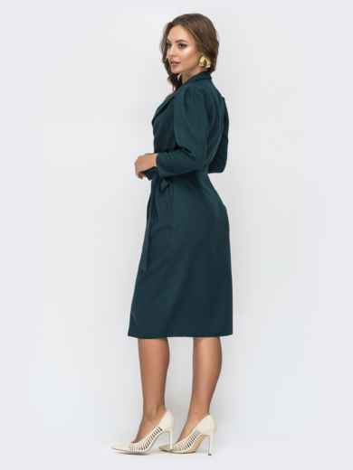 Зеленое платье на запах с лацканами 44821, фото 3