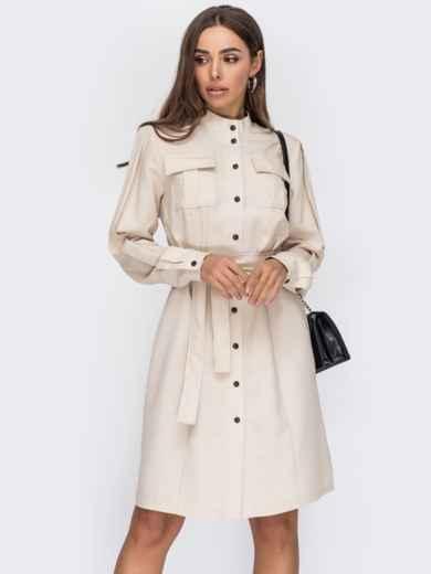 Платье-рубашка с воротником-стойкой бежевое 53521, фото 1