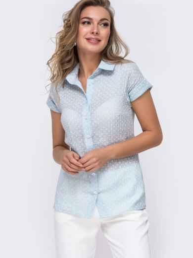 Голубая блузка приталенного кроя с принтом 48677, фото 1
