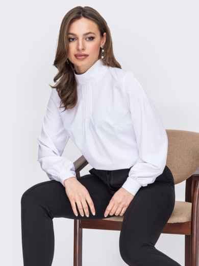 Белая блузка из софта с воротником-стойкой 52882, фото 1