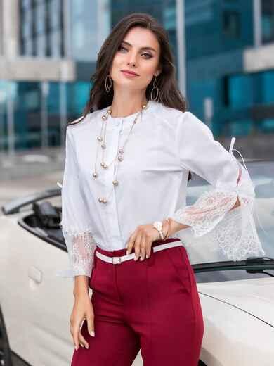 Белая блузка с гипюровыми манжетами 39664, фото 1