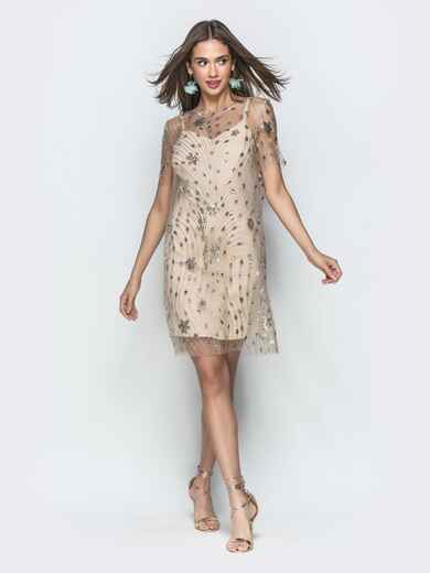 Бежевое платье из фатина с пайетками 39513, фото 1