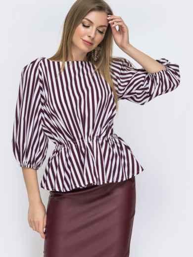 Блузка свободного кроя с баской в бордовую полоску 46789, фото 1