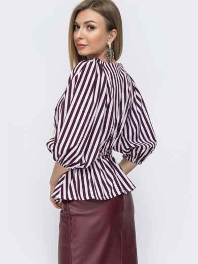 Блузка свободного кроя с баской в бордовую полоску 46789, фото 2